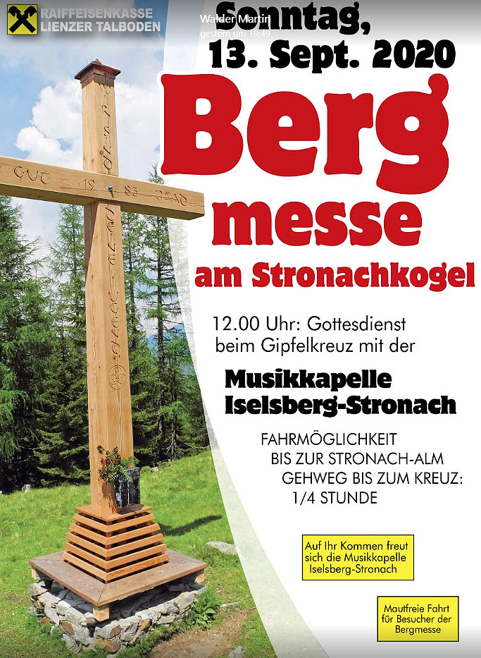 Bergmesse am Stronacher Kogl am So, 13.9.2020